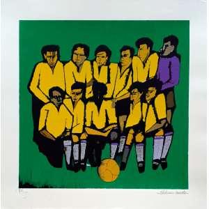 Aldemir Martins - Seleção brasileira - 77-100. Serigrafia, 50,5x50 cm, sem data, A.C.I.D. Sem moldura