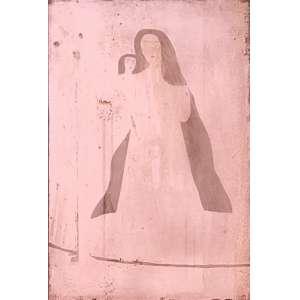 Alfredo Volpi - Madona. Matriz de gravura em cobre, 72x48,5 cm, déc 80. Matriz da gravura do lote 41