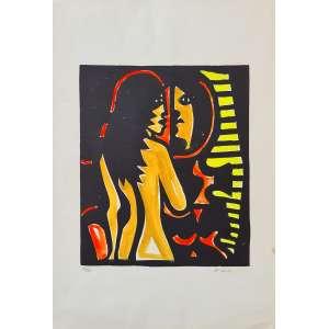 Emiliano Di Cavalcanti - Mulata no espelho - 70-100. Xilogravura e guache, 47x32 cm, 1968, A.C.I.D. Sem moldura