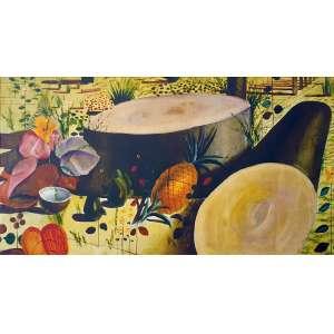 Candido Portinari - Paisagem com frutas. Giclée sobre tela, 55x100 cm, sem data, sem assinatura. Com moldura