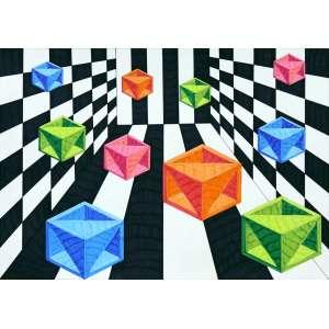 Cukier - Cubos coloridos recortados. Caneta hidrográfica sobre papel, 29,7x42 cm,2017, A.V Sem moldura