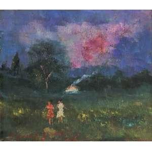 Manoel Santiago - Mulheres no campo. Óleo sobre eucatex, 15,5x18 cm, sem data, A.C.I.E. e V. Com moldura
