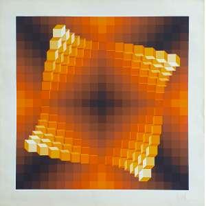 Yvaral (Jean-Pierre Vasarely) - Sem título - 18-200. Serigrafia, 75x75 cm, sem data, A.C.I.D. Sem moldura