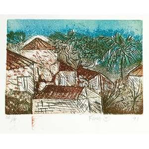 Fang - Casas - P.A. - I-IV. Gravura em metal, 35 x50,5 cm, sem 1991, A.C.I.D. Sem moldura
