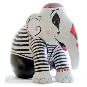 Elefante:Mímico / Artista: Anny Lemos<br /><br />Entidades beneficiadas: Centro Assistencial Cruz de Malta (http://ordemdemalta.com.br/centro-assistencial-saude-educacao/) e Elephant Family (www.elephant-family.org)<br /><br />Justificativa da autora: Gosto de explorar o humor sutil. Para este projeto pensei em um contrapeso entre a figura grande e robusta do Elefante e a sutileza do silêncio misterioso do mímico.<br /><br />Uso: Interno e Externo - Medidas: Altura 144 cm - Comprimento 173 cm - Largura 104 cm - Peso 35 kg <br /><br />Materiais: Fibra de vidro, tinta acrílica e verniz PU.<br /><br />*A escultura de elefante é leiloada sem a base*<br /><br />