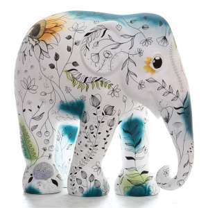 Obra: (in)visível / Artista: Nah Pinheiro<br /><br />Entidade beneficiada: Elephant Family (www.elephant-family.org)<br /><br />Justificativa da autora: O foco principal é o jogo antagônico em busca de solução. O habitat natural do elefante, assim como o seu alimento, que aqui o abraça externamente como forma de acolher e desvendar. Brotos que representam o nascer, o jovem, o novo, o (re)começar. Pontos de cor que sugerem a transformação da violência em pureza, natureza. Ver e enxergar, antes de se tornar invisível.<br /><br />Material: fibra de vidro - Uso: Interno e Externo - Medidas: Altura 146 cm - Comprimento 166 cm - Largura 75 cm - Peso 35 kg<br /><br />Materiais: Fibra de vidro, tinta acrílica e verniz PU. <br /><br />*A escultura de elefante é leiloada sem a base*<br />
