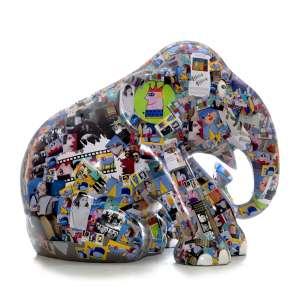 Obra: Galeria de fotos / Artista: Inos Corradin (homenageando Gustavo Rosa)<br /><br />Entidades beneficiadas: AACD (www.aacd.org.br) e Elephant Family (www.elephant-family.org)<br /><br />Justificativa: Inos Corradin pintou 'Galeria de fotos' com imagens da vida e obra do amigo Gustavo Rosa, em homenagem ao amigo artista. <br /><br />Uso: Interno e Externo - Medidas: Altura 146 cm - Comprimento 166 cm - Largura 75 cm - Peso 35 kg<br /><br />Materiais: Fibra de vidro, tinta acrílica recortes de papel, fotografias e verniz PU.<br /><br />*A escultura de elefante é leiloada sem a base*