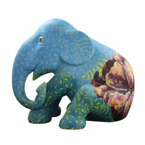 Obra: Flor.e.ser / Artista: Nah Pinheiro<br /><br />Entidade beneficiada: Elephant Family (www.elephant-family.org)<br /><br />Uso: Interno e Externo - Medidas: Altura 144 cm - Comprimento 173 cm - Largura 104 cm - Peso 35 kg<br /><br />Materiais: Fibra de vidro, tinta acrílica e verniz PU.<br /><br />*A escultura de elefante é leiloada sem a base*
