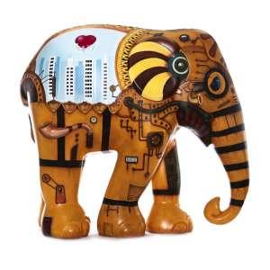 Obra: Steampunk / Artista: Ricardo Dantas<br /><br />Entidade beneficiada: Elephant Family (www.elephant-family.org)<br /><br />Justificativa do autor: Meu trabalho foi inspirado no gênero steampunk, que pode ser explicado de maneira muito simples, comparando-o a literatura que lhe deu origem. Baseado num universo de ficção cientifica criado por autores consagrados como Júlio Verne no fim do século XIX, ele mostra uma realidade espaço-temporal na qual a tecnologia mecânica a vapor teria evoluído até níveis impossíveis (ou pelo menos improváveis), com automóveis, aviões e até mesmo robôs movidos a vapor já naquela época.<br />Para mim, a cidade de São Paulo é como uma obra de ficção, uma maquina a vapor, com ares modernos, que se por um lado pode esmagar, por outro, produz amor.<br /><br />Uso: Interno e Externo - Medidas: Altura 146 cm - Comprimento 166 cm - Largura 75 cm - Peso 35 kg<br /><br />Materiais: Fibra de vidro, tinta à óleo e verniz PU. <br /><br />*A escultura de elefante é leiloada sem a base*