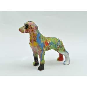 Nilo Zack - Cachorro em resina, 20x20x8, 700g - cachorro com respingos de tinta colorida