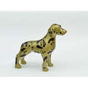 Victor Dzenk - Cachorro em resina, 20x20x8, 700g - Cachorro pintado de dourado com estampa de onça