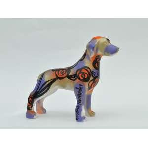 Rogério FernandesCa - chorro em resina, 20x20x8, 700g - Cachorro com intervenção artística roxa, laranja e preta