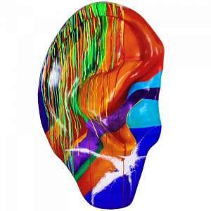 Obra: O Som da Chuva <br/><br />Artista: Mi Castelani <br/><br />Inspiração do projeto: Busca mostrar a importância da qualidade de vida do ser humano onde todo som principalmente os que nos conectam a natureza são primordiais à nossa saúde emocional. <br/><br />Medidas orelha: 160x95x25cm (AxLxP) <br/><br />Medidas base*: 80x60x40cm (AxLxP) <br/><br />Materias: Fibra de Vidro, Tinta Acrílica e Verniz PU. <br/><br />Pode ser exposta em ambiente externo. <br/><br />*A base da escultura também faz parte desse lote. <br/><br />