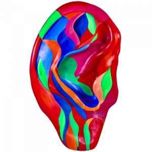 Obra: Fluxo da Vida <br/><br />Artista: Patrícia Amato <br/><br />Inspiração do projeto: Fluxo da Vida - apresento a vida humana embrionária numa simbiose com o meio ambiente. O feto tem a cor verde e se mescla com o fluxo ambiental. A mensagem é Eu e a Natureza somos um, não existimos um sem o outro. É o Fluxo Natural da Vida. Sem ele não há equilíbrio sustentável. <br/><br />Medidas orelha: 160x95x25cm (AxLxP) <br/><br />Medidas base*: 80x60x40cm (AxLxP) <br/><br />Materias: Fibra de Vidro, Tinta Acrílica e Verniz PU. <br/><br />Pode ser exposta em ambiente externo. <br/><br />*A base da escultura também faz parte desse lote. <br/><br />
