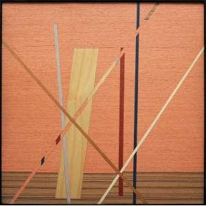 Danilo Blanco - 2019, Sem título, Composição geométrica abstrata, trabalhada com lâminas de madeira recortadas, lixadas e aplicadas sobre MDF, com moldura - medida em cm: 40 x 40