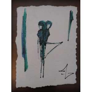 Andrea Annunziata - 2001, Sem título - Série Mulheres Moluscas (par), Tinta Relevo e Aquarela sobre Papel Reciclado - medida em cm: 29 x 21