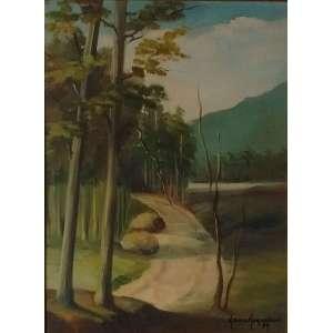 Neusa Nogueira - 1989, A Curva do Caminho, Óleo sobre tela - medida em cm: 40 x 30