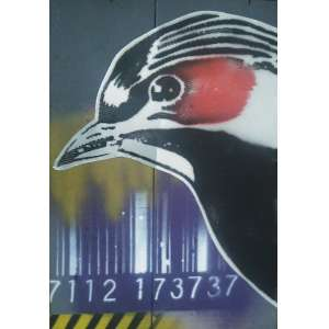 Celso Gitahy - 2018, Pássaro de Cativeiro, Metal e tinta spray sobre madeira - 40 x 30 cm