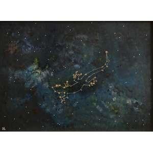 Totonho Laprovitera - acrílica sobre madeira com aplicação de espinhos de mandacaru, 45 x 60,5 cm Constelação Calango Cego 2015