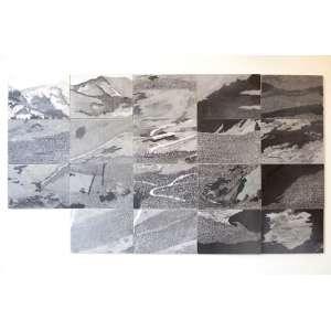 Lucas Länder - Descriptive Landscape #4, 2018. 19 peças Grafite e nanquim sobre papel com veladura em encáustica de parafina sobre suporte de madeira. Dimensões: Composição completa 118 x 210 cm (21 peças)