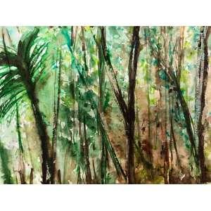 Hugo Fortes - Floresta do Isolamento 1, 2020, Acrílica e ecoline sobre papel, 29,7x21cms, 50 gramas, sem moldura.