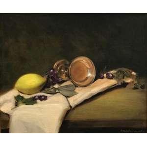 Medinaceli (Nilo de Medina Coeli Neto) - Título: Natureza-morta com limão, 2019. Óleo sobre tela. 30 x 40 cm. 600g, com moldura e paspatout