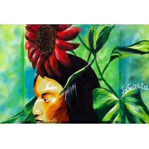 Ju Costa - Pintura sobre tela - tamanho 1x1m - técnica mista