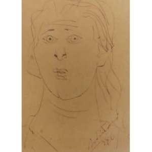 Candido Portinari- Rosto feminino; Desenho a nanquim; 17X14; 1946; Obra sob o número FCO 2983 catalogada no projeto Portinari