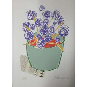 Gustavo Rosa - Vaso de Flores; Serigrafia; Tiragem 50; 50X40; Obs: Sem moldura