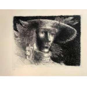Marcelo Grassman - Figura de chapéu; 1981; 53 x 39; Litografia