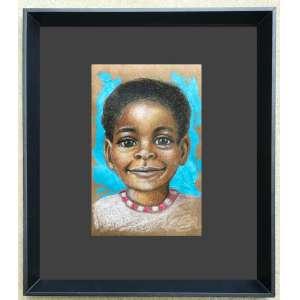 Diego Mendonça - Criança negra 2 - acrílico e lápis de cor sobre papel craft - 12x19 cm - com moldura - 31x39 cm