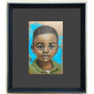 Diego Mendonça - Criança negra 4 - acrílico e lápis de cor sobre papel craft - 12x19 cm - com moldura - 31x39 cm