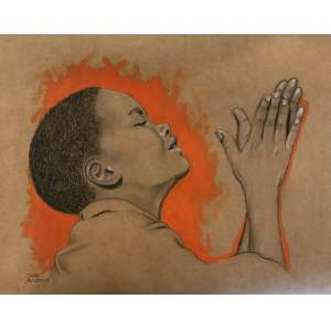 Diego Mendonça - É tempo de adorar - acrílico e lápis de cor sobre papel craft - 45x36 cm - com moldura - 53x62 cm