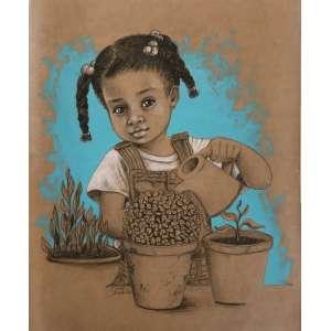 Diego Mendonça - É tempo de semear - acrílico e lápis de cor sobre papel craft - 45x36 cm - com moldura - 53x62 cm