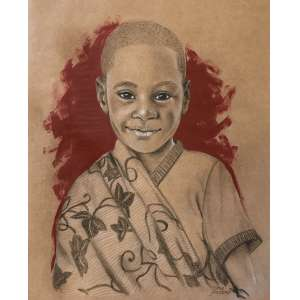 Diego Mendonça - É tempo de sorrir - acrílico e lápis de cor sobre papel craft - 45x36 cm - com moldura - 53x62 cm
