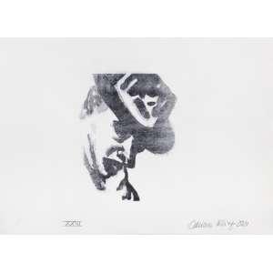 """Artista: Adriana Kling<br>Título: """"Homem com Chapéu""""<br>Ano: 2021<br>Técnica: Gravura<br>Edição: de 23<br>Dimensões: 39 x 53 cm<br>Doação: Adriane Kling"""