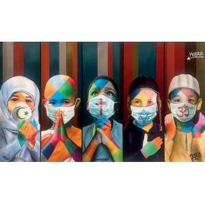 Kobra, Eduardo - Coexistência, 2020 - Técnica mista sobre papel Canson 310 Rag Photographique 100% algodão. Edição 28/100 - 50 x 90 cm (sem moldura)<br><br>Doação 100%