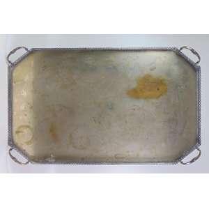 Grande Tabuleiro em metal prateado - 11 cm alt, 100 x 60 cm.