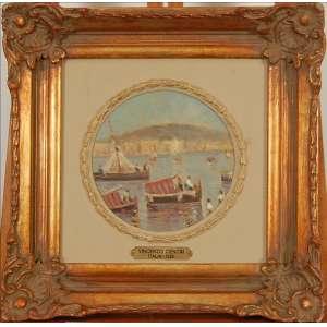 Vincenzo Cencin - Marinha - óleo sobre tela colado em madeira - med. Ø 17 cm