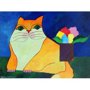 Aldemir Martins – Gato Laranja com Vaso – AST – 60 X 80 cm – Data: 2000 Certificado de Autenticidade emitido pelo Estúdio Aldemir Martins