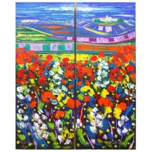 Isidro Cistaré, Azules - Óleo sobre Tela - Med. 100 x 40 cm (diptico)