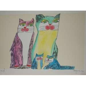 ALDEMIR MARTINS - Família de gatos -Gravura - tiragem 21/100 - Edição Póstuma - 35x50cm - sem moldura