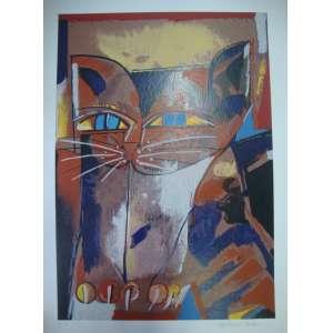 ALDEMIR MARTINS, gato malhado, gravura, tiragem 24/120, edição póstuma, 70x50cm, sem moldura