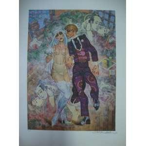 JUAREZ MACHADO, casal, gravura, tiragem 46/100, assinada pelo artista, 70x50cm, sem moldura