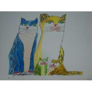 ALDEMIR MARTINS, família de gatos, gravura, H.C, 35x50cm, sem moldura, edição póstuma