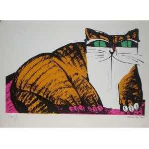 ALDEMIR MARTINS, gato laranja, gravura tiragem 53/100 , 35x50cm, sem moldura, edição póstuma