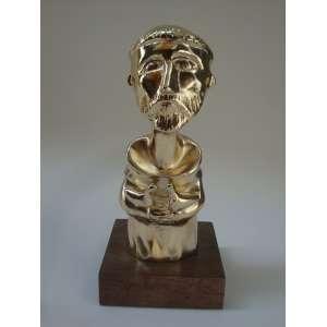 INOS CORRADIN, São Francisco, escultura, metal pátina ouro, 16cm x 7,5cm x 7,5cm, 2019, com certificado do artista