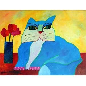 Aldemir Martins – Gato Azul com Vaso de Flores Vermelha – AST – nas medidas de 60 X 80 cm – Data: 2000 . Obra com certificado de autenticidade emitido pelo instituto.
