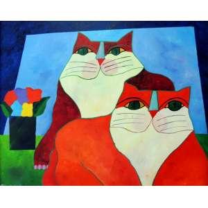 Aldemir Martins – Gatos Vermelhos com Vaso – AST – nas medidas de 80 X 100 cm – Data: 1999, Obra com certificado de autenticidade emitido pelo instituto Aldemir Martins