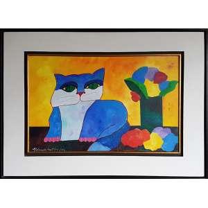 ALDEMIR MARTINS, Gato azul, vaso e flores - Acrílica sobre tela - 40x60 cm - ACIE 2006 (Com documento de autenticidade)